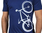Bicycle Navy Blue Men TShirt Abstract Modern White Vehicle Design Illustration Gift for the Sport Lover Cyclist Friend Gym Outfit