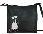Cats - tote - Shoulder black bag with 2 compartments - adjustable strap and double pen holder on the side - Women