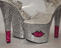 Rhinestone Bling Custom Platform Heels Stripper Dancer Exotic Shoes