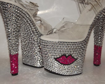 Rhinestone Bling Custom Platform Heels Stripper Dancer Exotic Shoes
