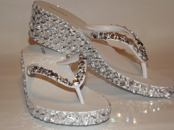 Rhinestone Bling Flip Flop Wedge Sandals Bridal Wedding