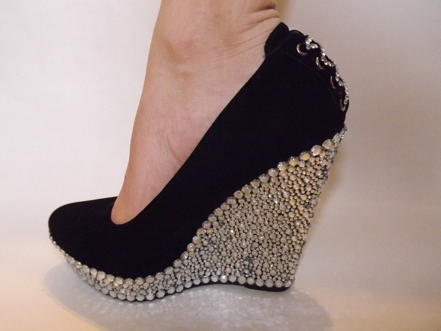 Rhinestone Wedge Heels