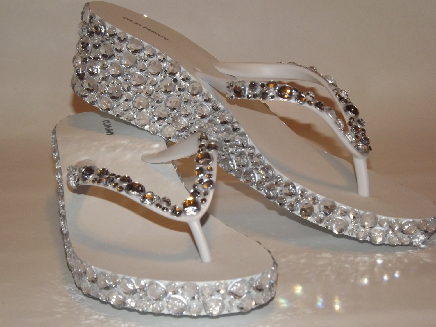 Crown Bling Wedding Flip Flops for the Bride, Bridesmaid Flip Flop Sandals & Flower Girl Shoes.