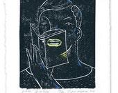 Public Speaker ( Linoleum Block Print )