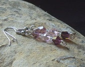 Violets and Pink Crystal Dangle Earrings