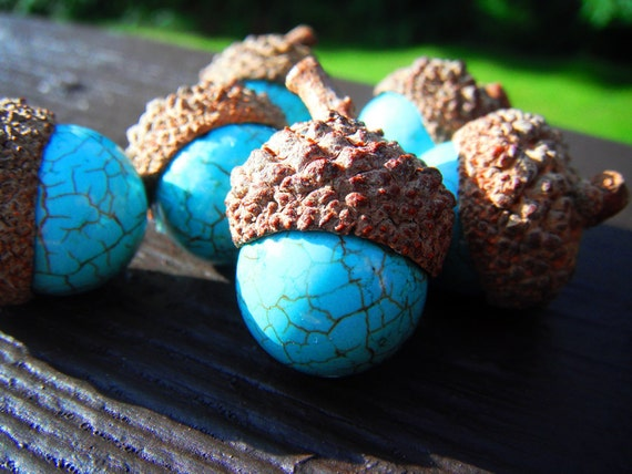 RESERVED- Turquoise Acorns- Lovely Autumn Decor