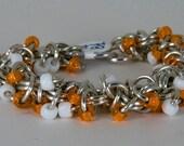 Orange & White Shaggy Links Bracelet Chainmalle Aluminum