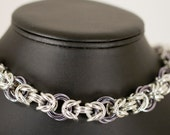 Bright Aluminum Byzantine with Black Ice Mobius Links Necklace