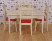 CLEARANCE SALE Vintage Renwal Kitchen Table with Four Chairs Ivory with Red Seats Three Quarter Scale Plastic Furniture