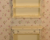 Dollhouse Miniature One Inch Scale Shabby Chic Floor and Wall Cabinet Pair with Carved Rose Pulls