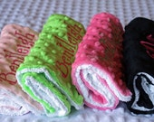 Personalized Embroidery : Set of (2) Minky/Chenille Baby Burp Cloths You Pick Colors