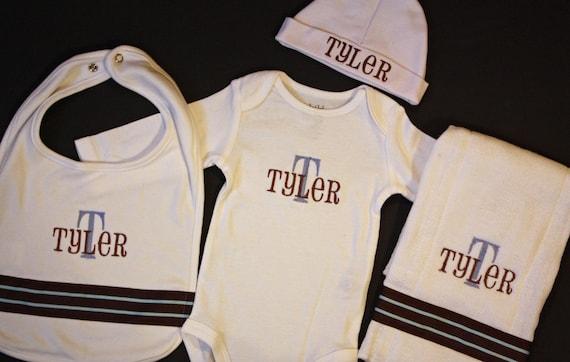 Personalized Embroidery : Newborn Baby Boy Gift Set - Onesie, Bib, Burp Cloth, Hat