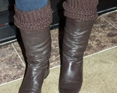 Teen - Adult Leg Warmers - Espresso Brown Yarn - Handcrafted - Accessories
