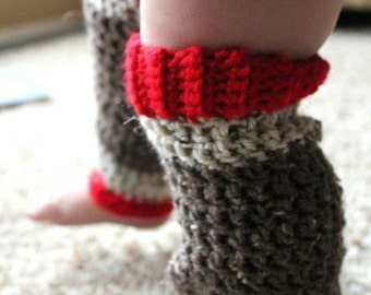 6 to 12 Month Leg Warmers - Brown, Tan & Red - Sock Monkey