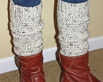 Teen - Adult Leg Warmers - Off White Tweed Yarn - Top Seller  - Handcrafted - Accessory