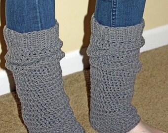 Teen - Adult Leg Warmers - Medium Gray Yarn - Handcrafted - Crocheted - Ticklebebe
