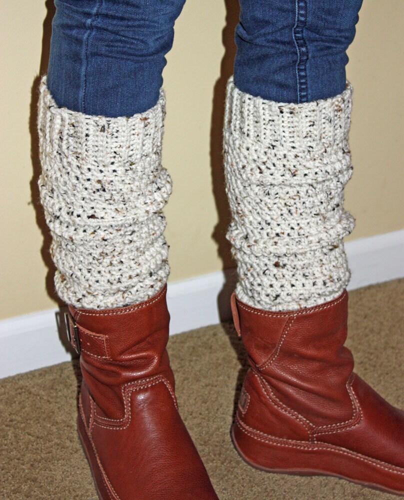 Teen Adult Leg Warmers Off White Tweed Yarn Top Seller