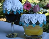 Crocheted Beverage Veil aka Wine Cover. Keep those pesky bugs from enjoying YOUR drink.