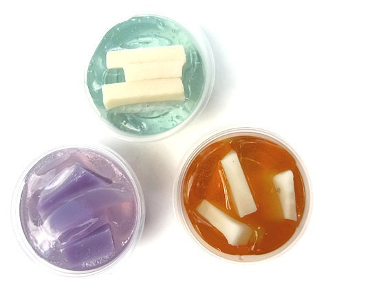 Chunk Candle Melts Aromatherapy Wax Tarts For Warmers in Your Choice of Scents, Scented Soy Gel Tarts, Aqua Purple Cream Minimalist