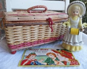 Vintage Red Sewing Basket, Needle Cards, Scissor Holder Figure/Figurine and Notions