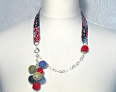 Necklace from cotton fabric,silver chain 925, felt balls,ceramic beads,upcycled,asymmetrical.