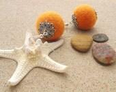 Felt  earrings orange/pumpkin, felted earrings orange/pumpkin.Felt ball.Felted ball.Eco friendly.Hand made.