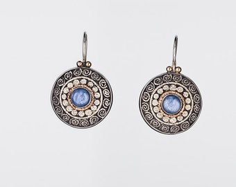 Earrigs, Filigree Earrings Kyanite Gemstone, Gold Silver and Stone Earrings