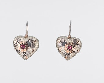 Silver and Gold Heart Earrings, Silver ornamental Heart Earrings, Silver Heart Earrings with Garnet Stone, Gift for her