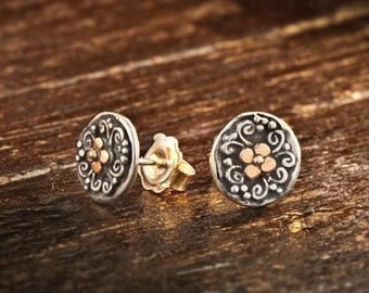 Silver and Gold Stud earrings, Gold  Stud Round Earrings, Everyday Stud Earrings, Golden Stud Earrings, Ornamental Jewelry, Judaica Jewelry