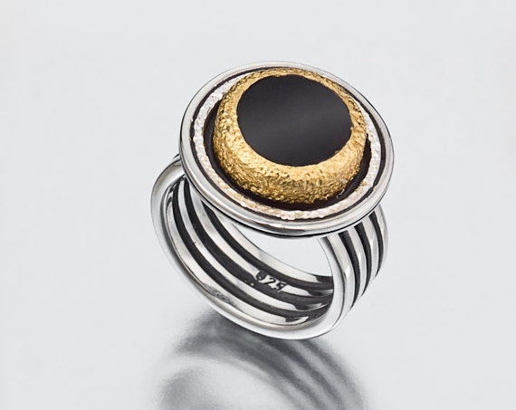 Gold and silver ring, Black onyx ring, 22k solid gold ring, Bold ring for woman, Evening jewelry, Gemstone ring, Estate jewelry Gift for her