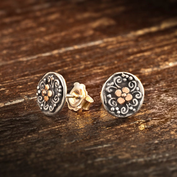 9k gold Sterling Silver Stud Round Earrings