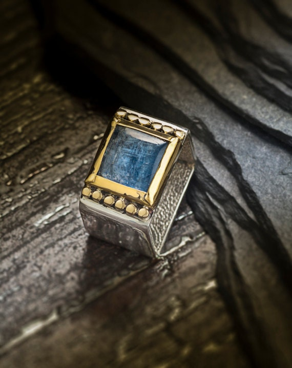 22k Gold and Silver Kyanite  Ring , Sterling Silver Kyanite Ring, Square Ring, Blue gemstone Gold and silver Ring