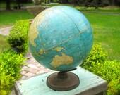 Vintage World Globe, 1930s Cram's Universal Terrestrial Globe