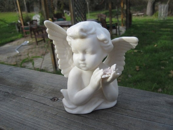 Cyber Monday Etsy Coupon Code Vintage Porcelain White Angel with Pale Pink Roses, Ardalt Japan