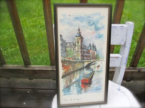 Vintage Paris Print, Water Scen