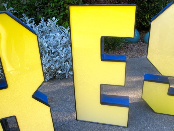 """Vintage Marquis Letters, Industrial Salvage Letter E HUGE 30"""" Yellow and Blue"""