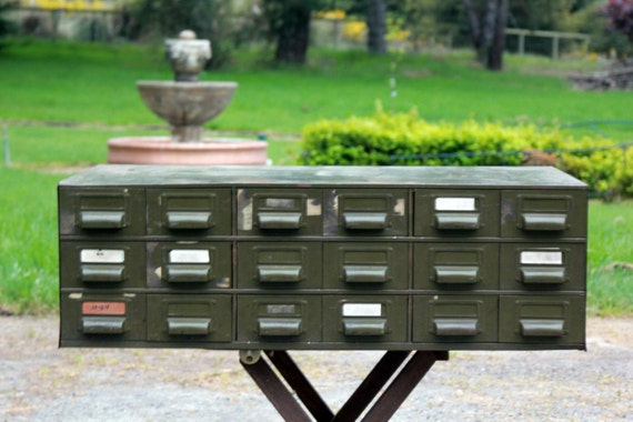 Reserved for Abbey...Holiday Sale/Coupon Vintage Metal Industrial Cabinet, Army Green, 18 Drawers, Industrial Storage