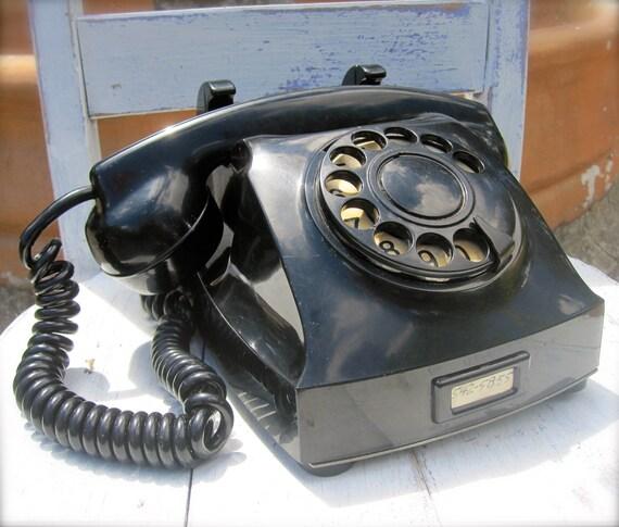 Vintage Black Rotary Phone Telegrafverket, Working 1950s, Bakelite, Convertible
