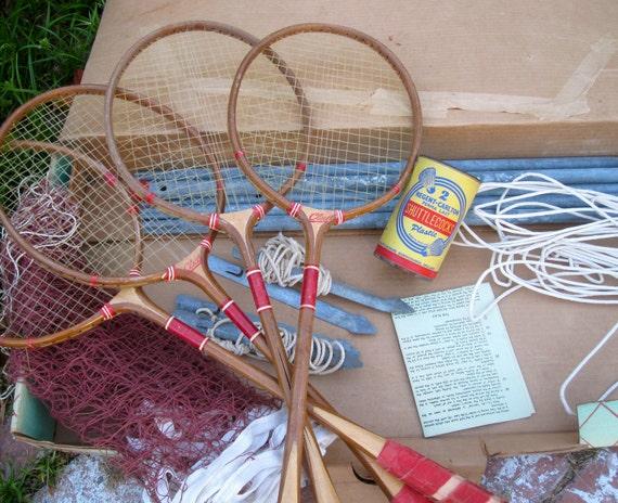 Vintage Badminton Set, Complete with Box, et al