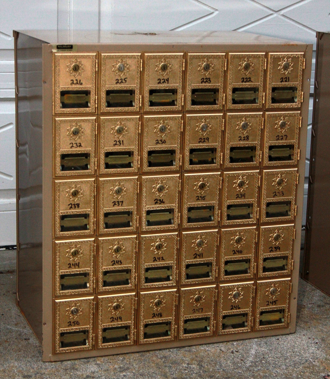 Vintage mailboxes bank of 30 industrial decor brass and - Post office bank statements ...