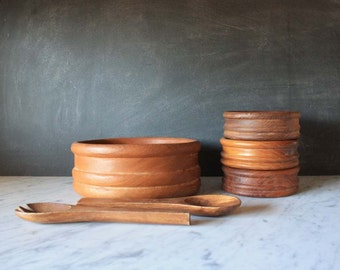 Mid Century Teak Salad Bowl Set