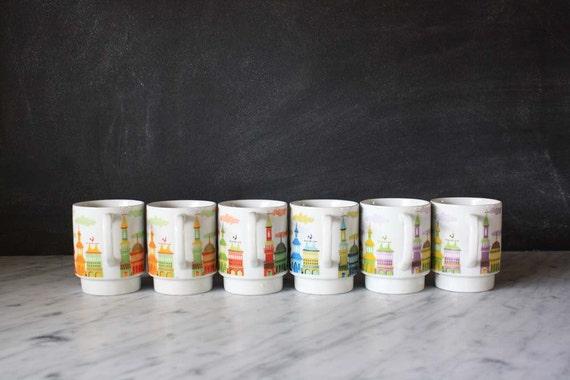 Set of Six Vintage Japanese Stacking Mugs
