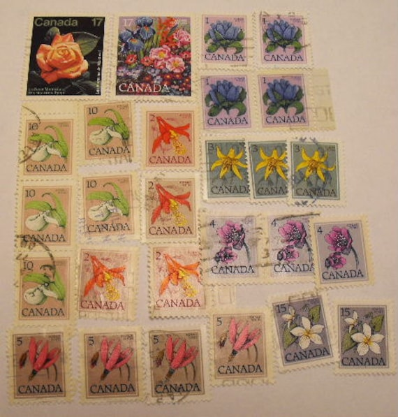 Lot of Vintage Canadian Used FLOWER Stamps LOT 2