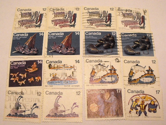 Lot of Used Vintage Canadian Stamps of The Inuit Includes The Titles Travel Hunting Community and Spirits LOT 3