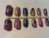 aztec tribal wow hand painted false nails christmas gift kitsch cute 90s hipster