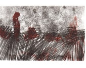 Monoprint. Original Art Print, Small Landscape.