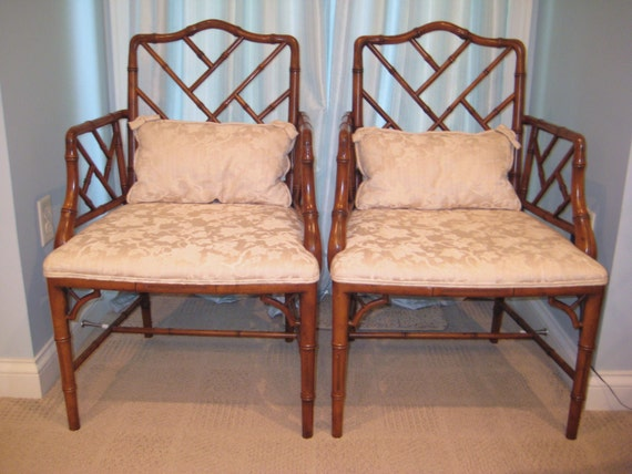 A pair of Chinese Chippendale Faux Bamboo Armchairs