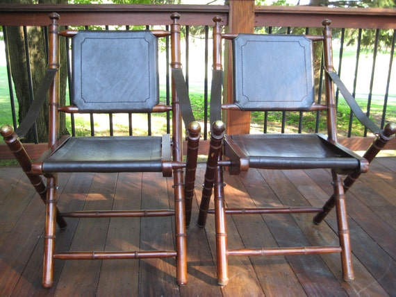 Faux Bamboo Teak, Leather and Brass Campaign style /Safari Folding Chairs