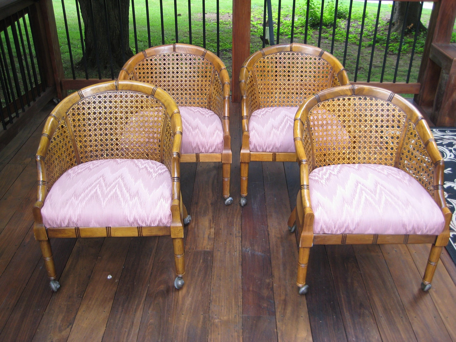 Set Of Four4 Barrel Tub Faux Bamboo Chairs