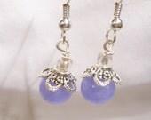 Purple and Silver Beaded Dangle Earrings